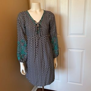 THML Navy embroidered lace up dress size XS